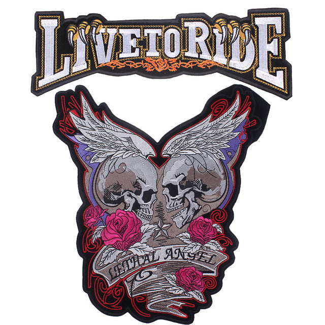Loving Skull Motorcycle Embroidered Patches For Clothing