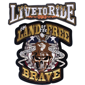 Land Free Brave Motorcycle Embroidered Patches For Clothing