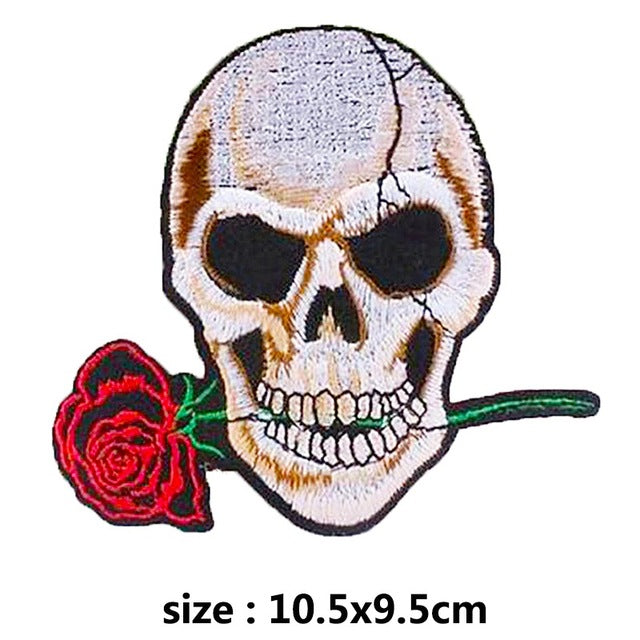 Rose Skull Embroidered Patches For Clothing