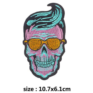 Rocking Skull Embroidered Patches For Clothing