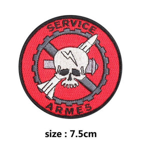 Service Arms Skull Embroidered Patches For Clothing