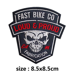 Loud & Proud Motorcycle Skull Embroidered Patches For Clothing