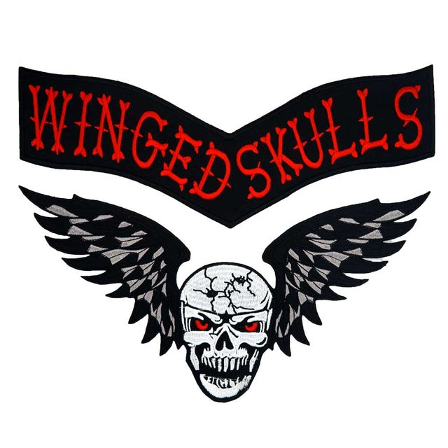 Skull Wings Back Embroidered Punk Biker Patche