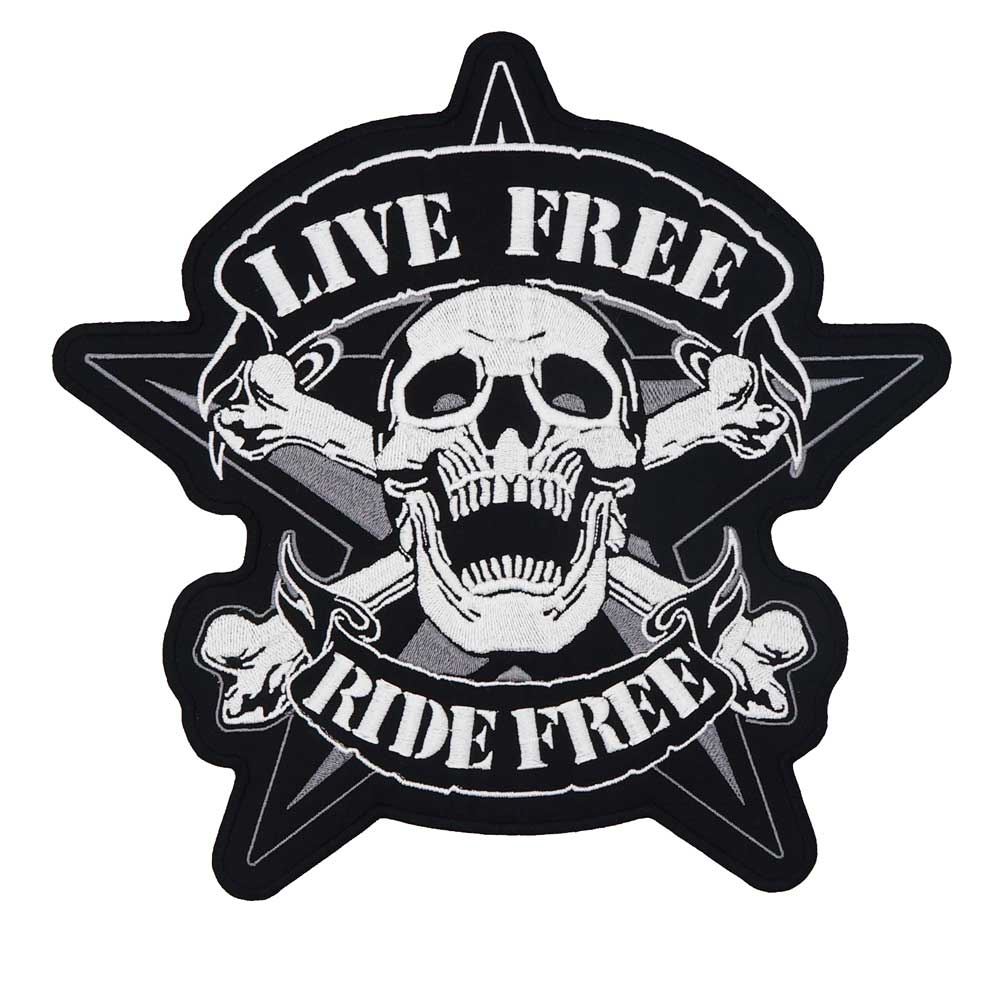 LIVE FREE RIDE FREE Large Embroidered Biker Patch