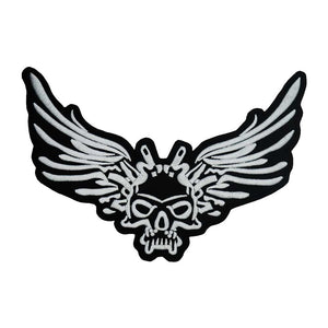 Winged Skull Large Embroidered Biker Patch