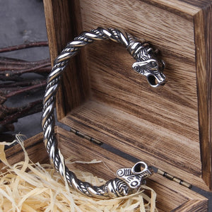 Stainless Steel Nordic Viking Norse Bear Bracelet with Viking Wooden Box