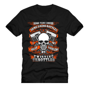 Motorcycle Throttle Skull Engine T Shirt