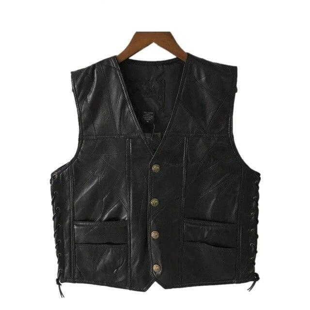 Black Genuine Leather Motorcycle Vest