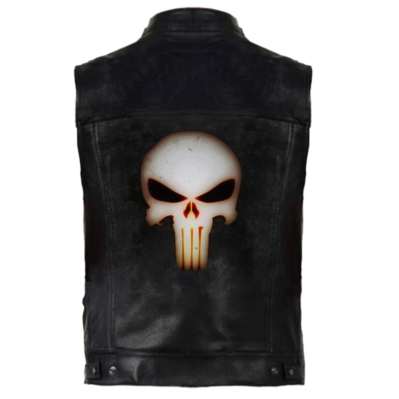 Black Punisher Skull PU Leather Motorcycle Vest