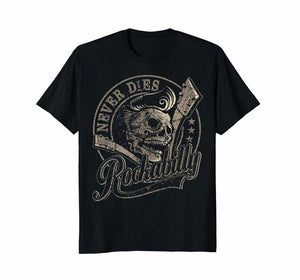 Rockabillys Skull Guitar Cotton Black T Shirt