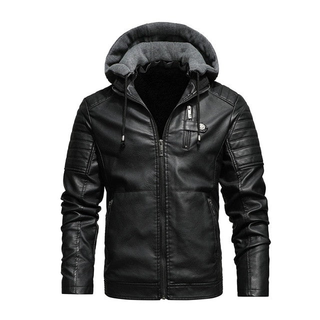PU Leather Thick Motorcycle Jacket