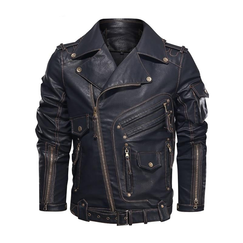 Faux Leather Zipper Motorcycle Jacket