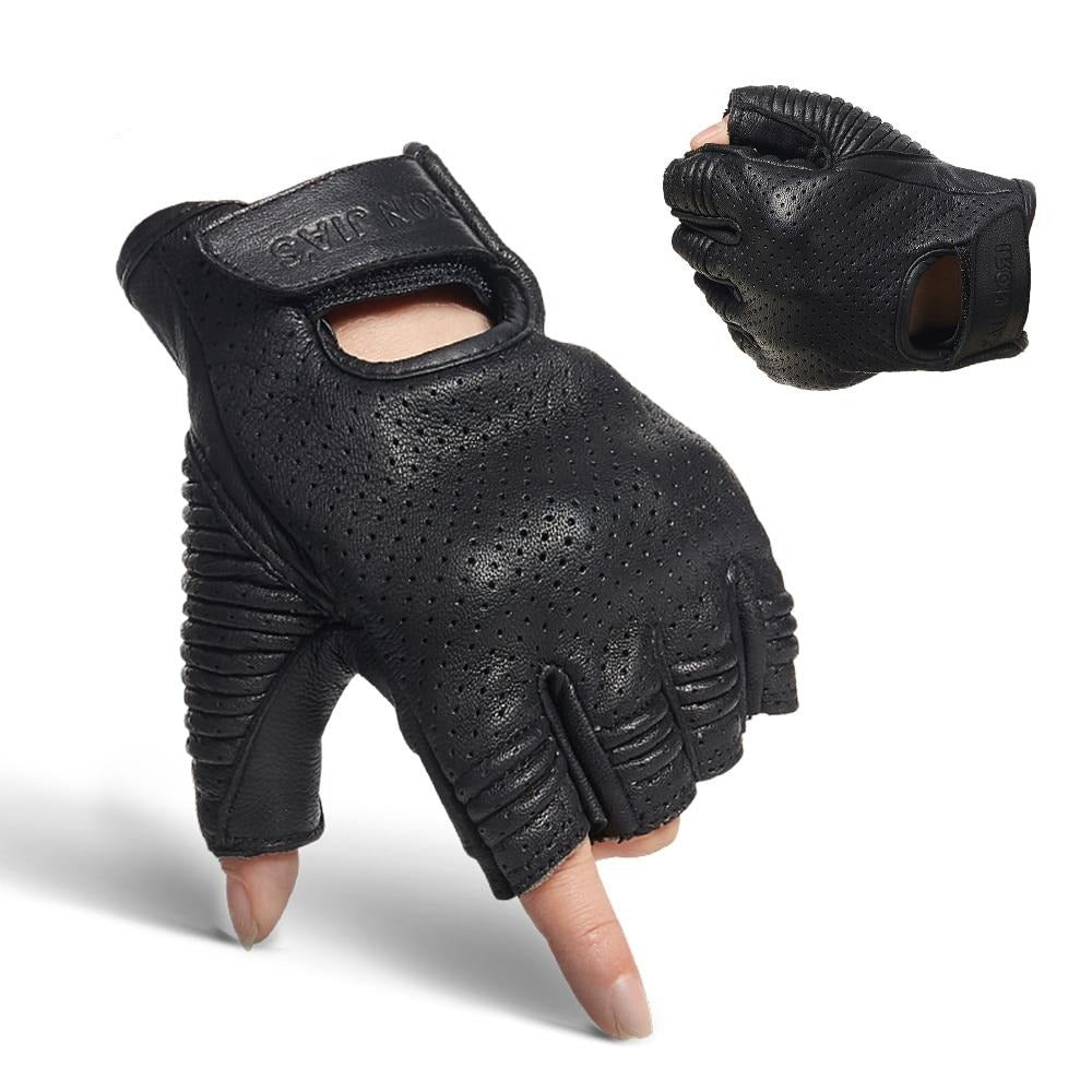 Black Leather Motorcycle Finger-less Breathable Gloves