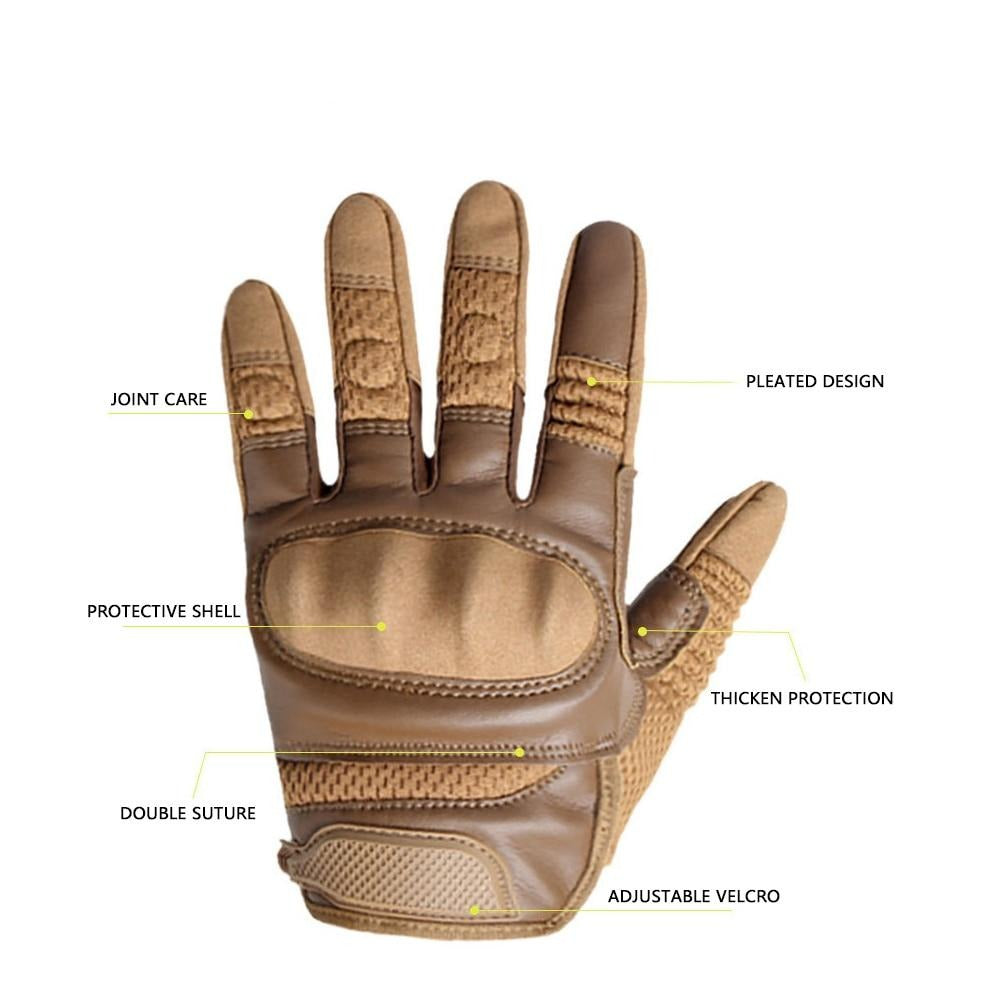 PU Leather Touch Screen Breathable Hard Knuckle Riding Gloves