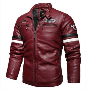 Embroidered PU Leather Motorcycle Jacket