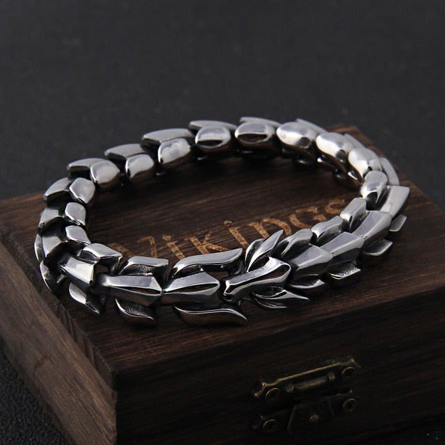 Stainless Steel Viking Ouroboros Vintage Punk Bracelet with Wooden Box