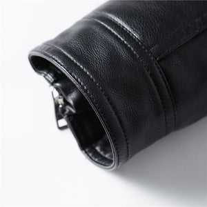 PU Leather Stand Collar Motorcycle Rider Jacket