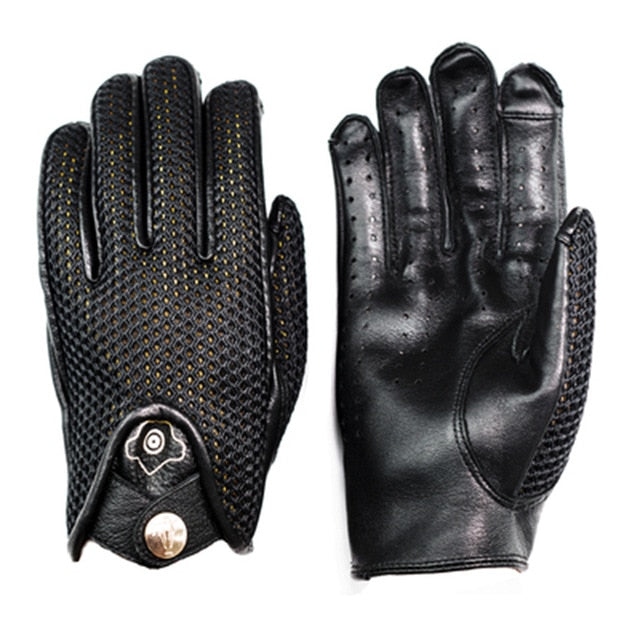 Black Genuine Leather Breathable Full Finger Motorcycle Riding Gloves