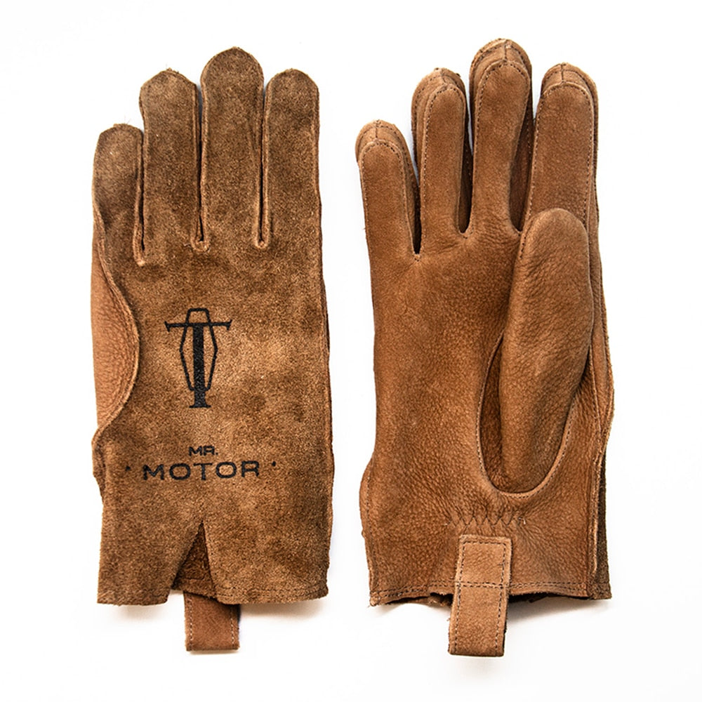 Vintage Brown Frosted Cowhide Genuine Leather Gloves