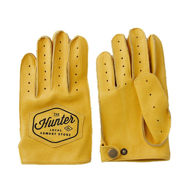 Genuine Leather Full Finger Yellow Breathable Cowhide Motorcycle Gloves