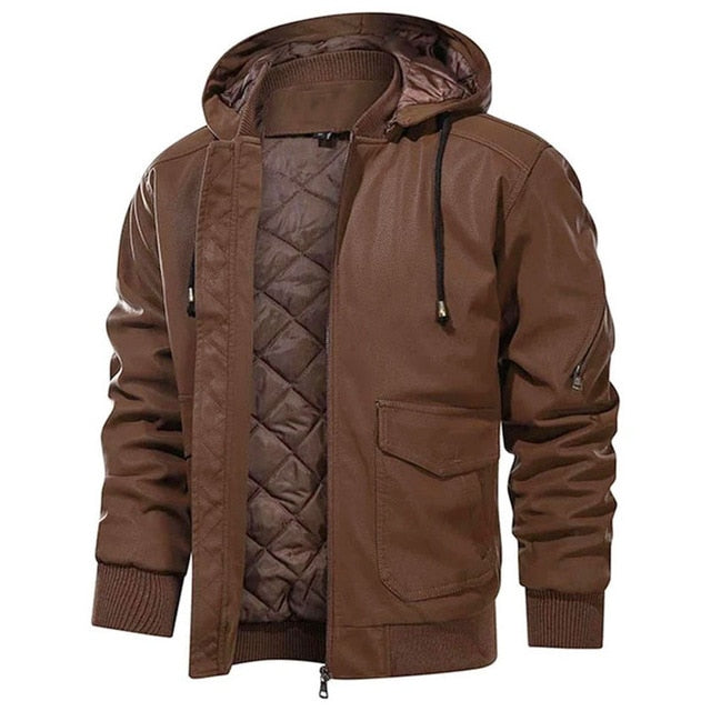 Removable Hood Warm PU Leather Jacket