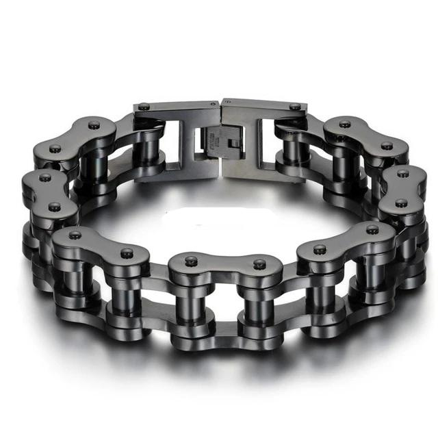 Wide Steel Biker Motorcycle Chain Bracelet