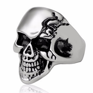 Gothic Punk Skull Adjustable Big Silver Biker Ring