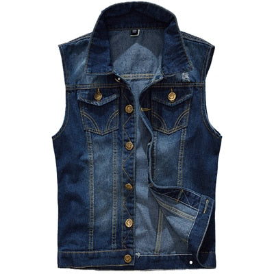 Blue Denim Casual Ripped Slim Fit Vest