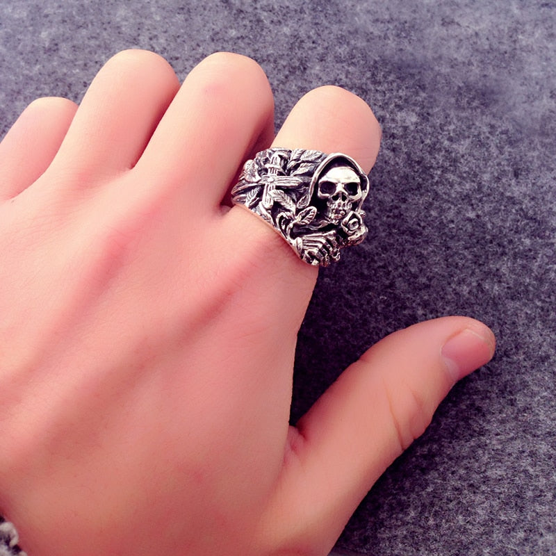 Sterling Silver Skull With Cross Flower Howling Eagle Vintage Ring
