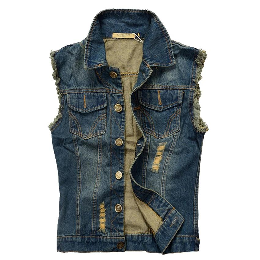 Blue Ripped Denim Vest