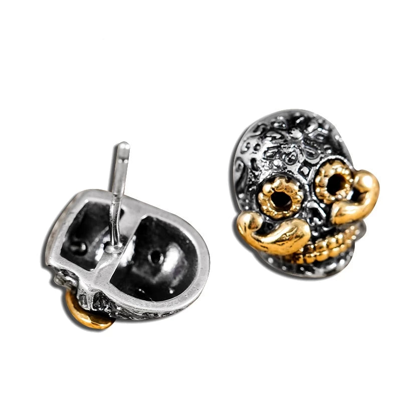 Sterling Silver Skull Gold Color Beard Stud Earrings