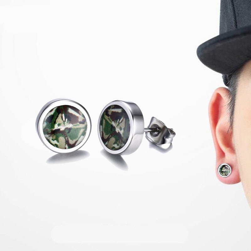 Steel Green Camouflage Dome Stud Earrings