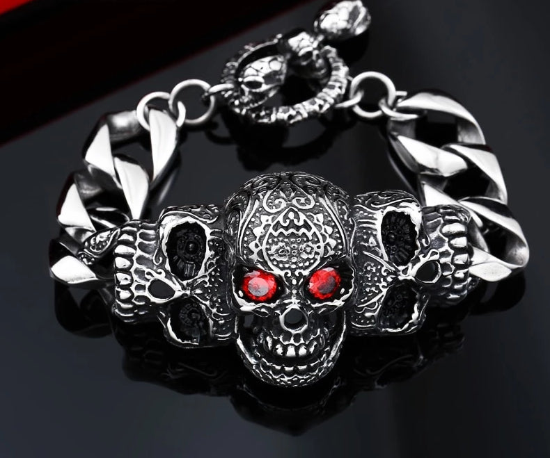 Red Eye Stone Biker Skull Steel Bracelet