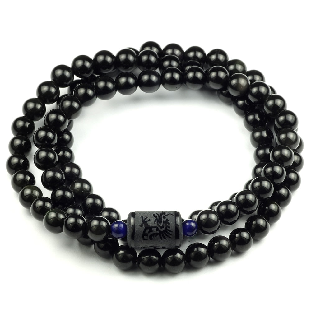 Black Rainbow Obsidian Natural Stone Bracelet