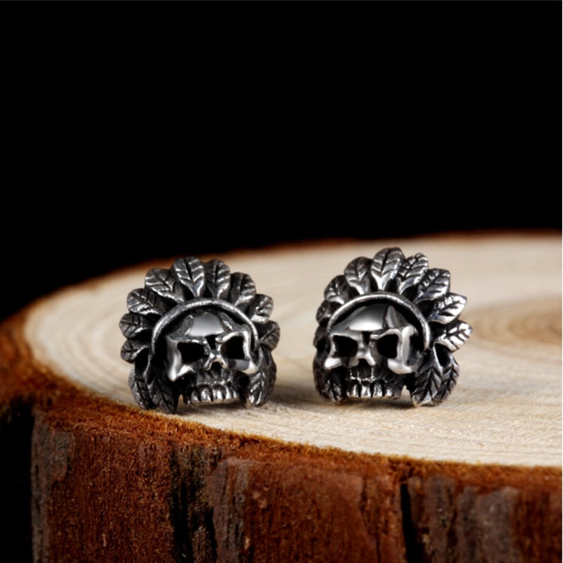 Sterling Silver Skull Skeleton Earrings