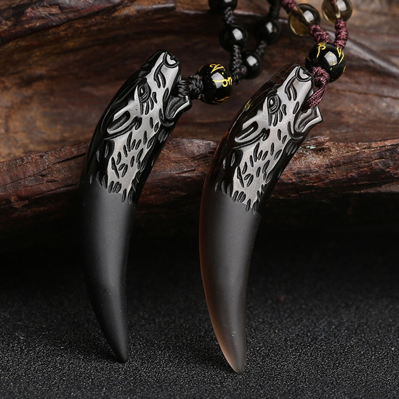 Natural Stone Black Wolf Tooth Pendant Necklace For Women And Men