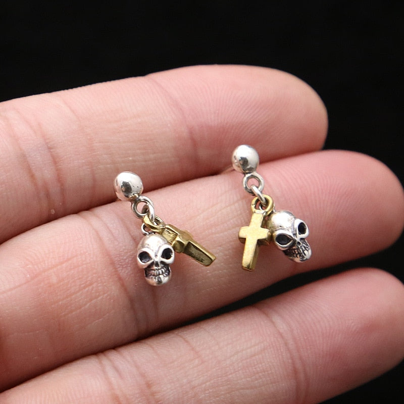 925 Sterling Silver Jesus Cross Skull Earrings