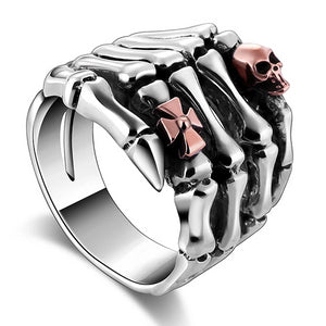 Sterling Silver Skull Hand With Skull Head Ring