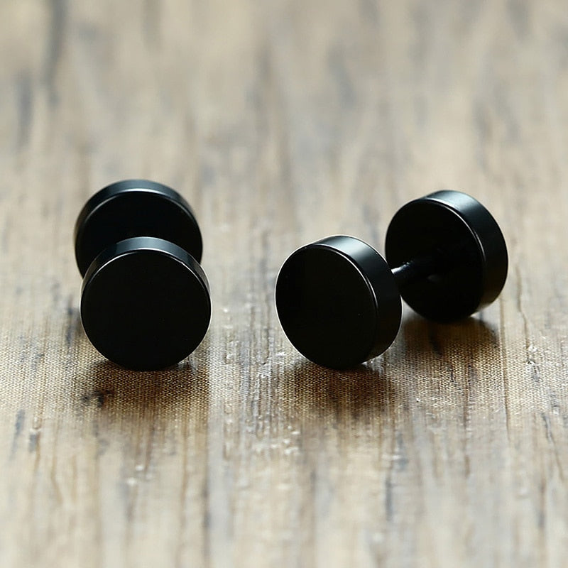 Steel Black Screw Stud Earrings