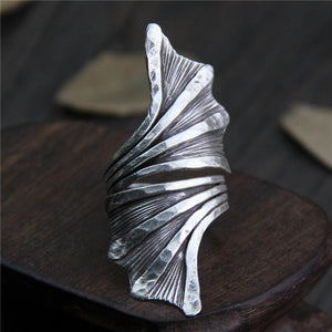 Sterling Silver Large Plant Flower Leaves Shaped Vintage Ring