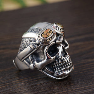 925 Sterling Silver Skull Head With Pilot Glass Rings (Re sizable)