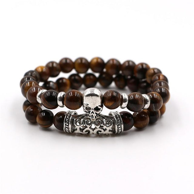 Natural Stone Beads Steampunk Skull Head Bracelet
