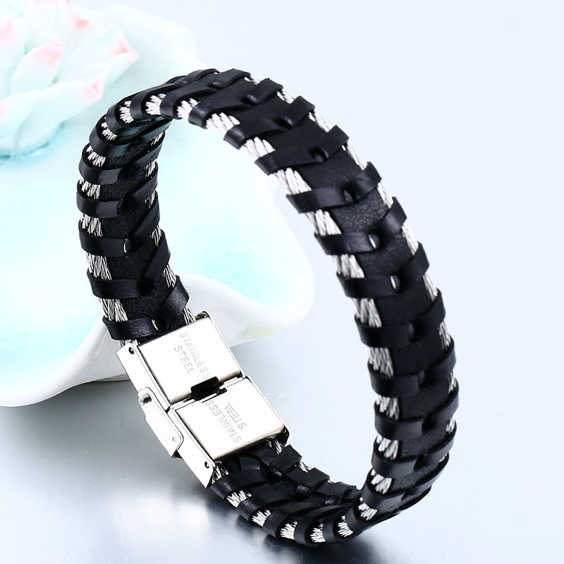 Twisted Steel Wire Leather Bracelet