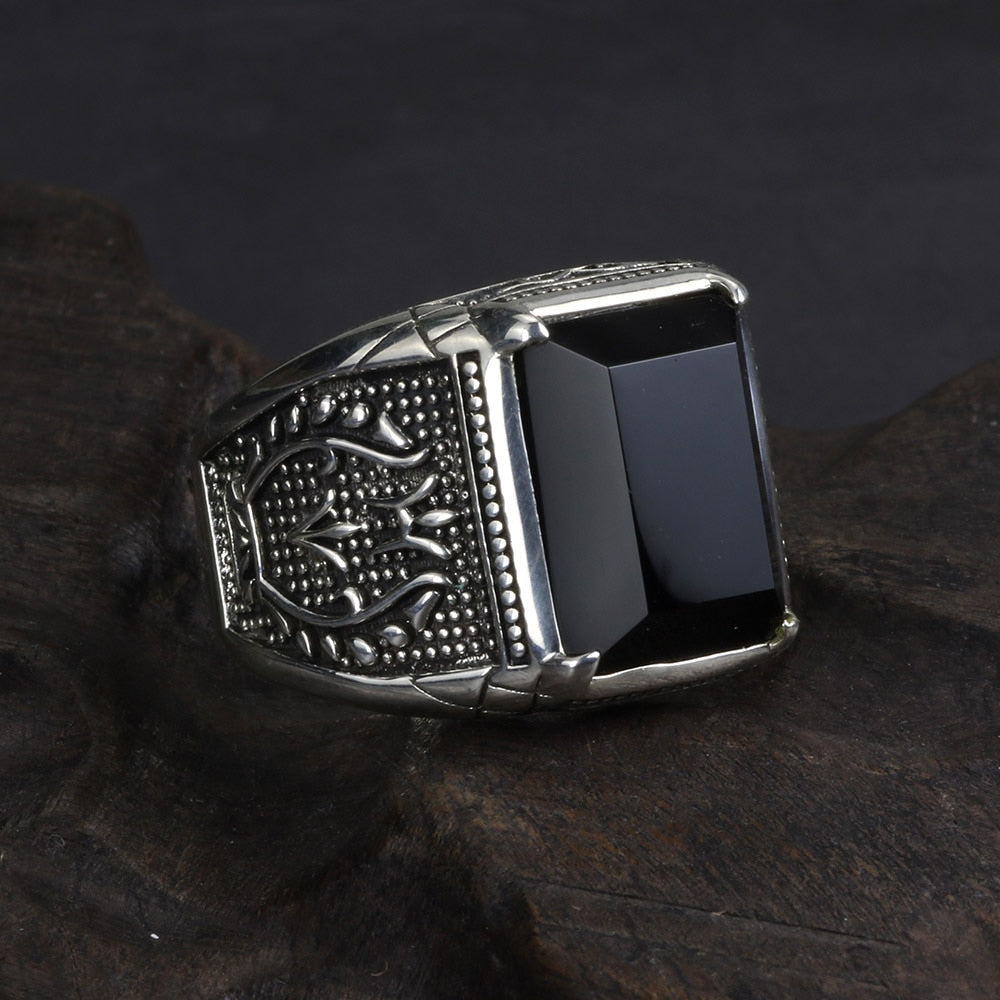 925 Sterling Silver Black Obsidian Natural Stone Ring