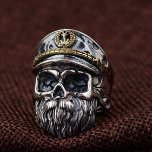 925 Sterling Silver Adjustable Pirate Captain Skull Ring