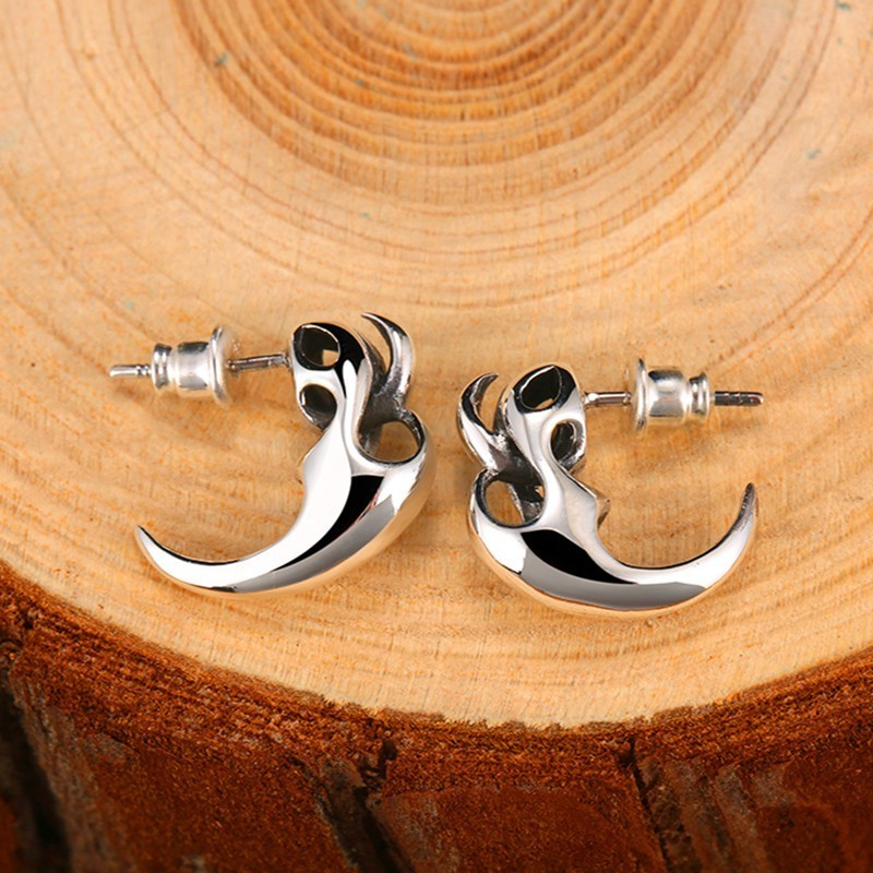 Sterling Silver Vintage Punk Skeleton Studs Earrings