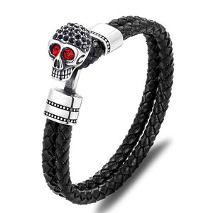 Skull Stainless Steel Easy-Hook Shackles Leather Bracelet