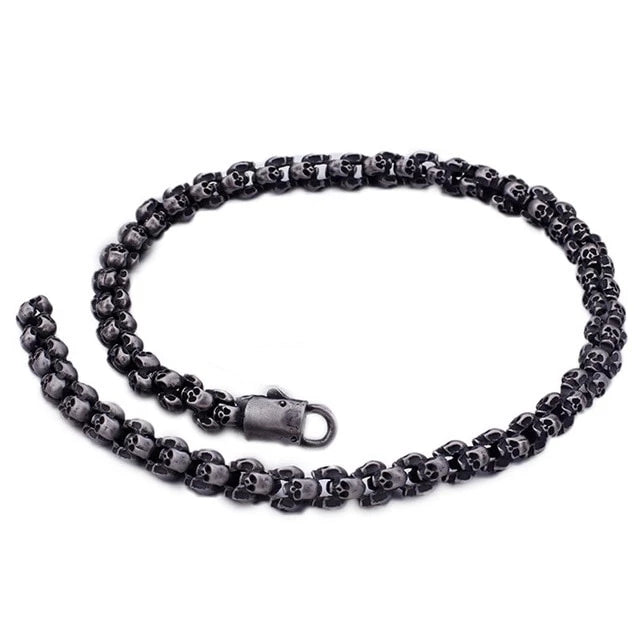 Brushed Polished Charm Link Skull Chains Necklace