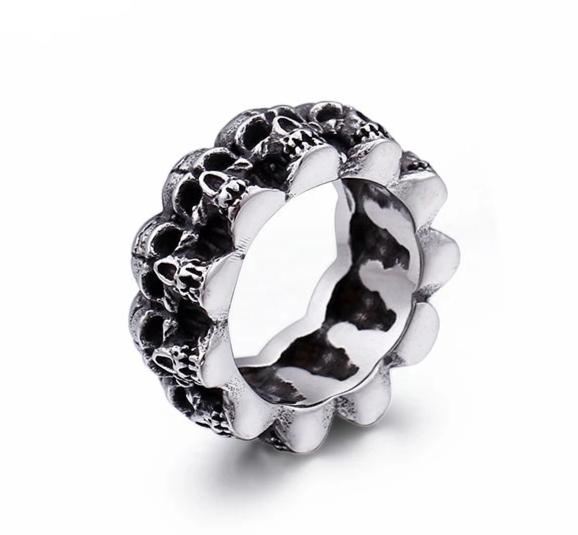 Steel Multi Skull Heads Gothic Ring