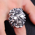 Rap Hip Hop Rock Punk Glases Skull Big Adjustable Ring